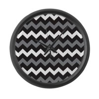 Black Gray And White Chevron Large Wall Clock by BeautifulBed