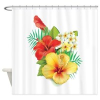 Tropical Hibiscus Shower Curtain by UnderTheSea2