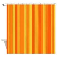 Orange & Yellow Stripes Shower Curtain by yneami