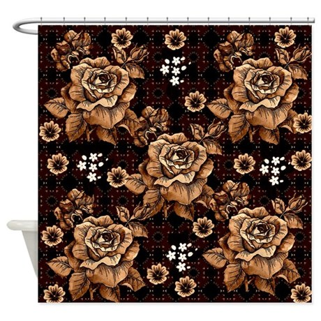 Copper Roses Shower Curtain by ursinelogic