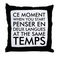 Thinking in French and English Throw Pillow by Admin_CP2467713