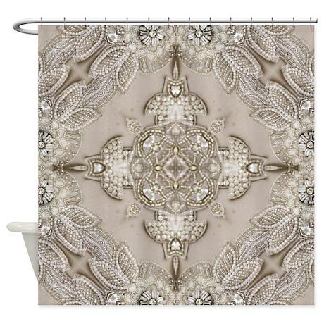 glamorous girly Rhinestone lace pea Shower Curtain by