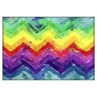 Geometric Zigzag Watercolor Wall Art Canvas Art