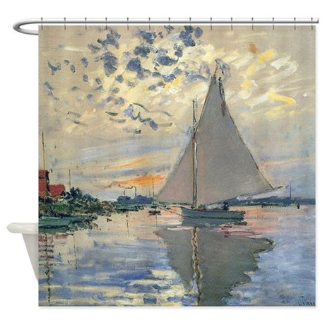 Monet Sailboat French Impressionist Shower Curtain By Doodlefly