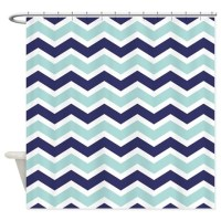 Nautical Chevron Light Blue Shower Curtain by PinkInkArt2