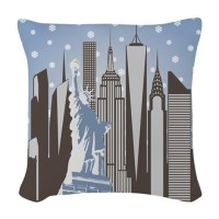 Nyc Snowflakes Woven Throw Pillow by thejasonknight