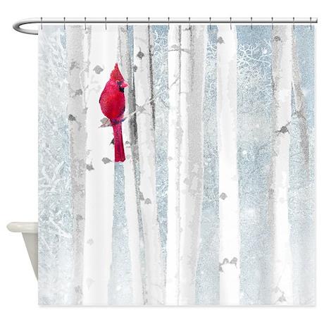 Red Cardinal Bird Snow Birch Trees Shower Curtain by ADMIN
