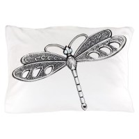 Metallic Silver Dragonfly Pillow Case by Admin_CP51336015