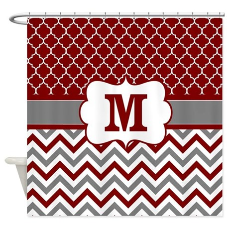 Grey Red Chevron Shower Curtains Grey Red Chevron Fabric Shower