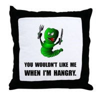 Hangry Monster Throw Pillow by TeesParty