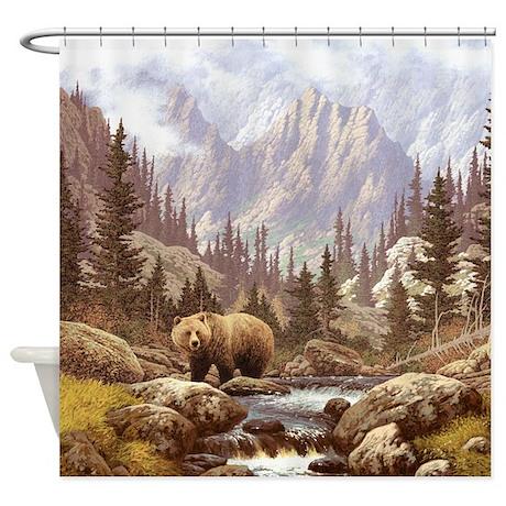 Grizzly Bear Landscape Shower Curtain by FantasyArtDesigns
