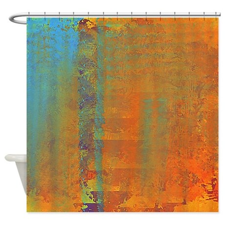 Abstract in Aqua Copper and Gold Shower Curtain by