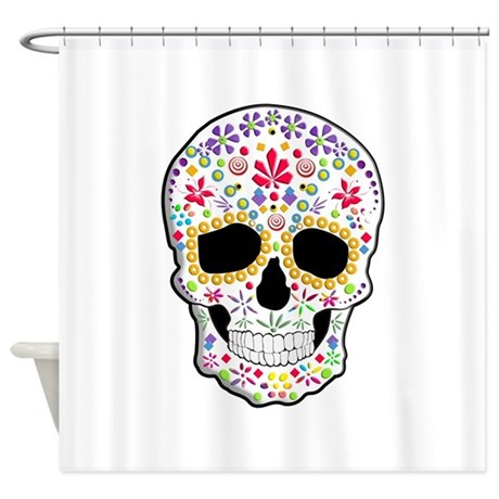 Sugar Skull Shower Curtain by TinaGraphics