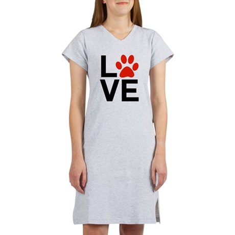 Love Dogs / Cats Pawprints Women's Nightshirt. The letters / word LOVE with a paw-print graphic for the letter O. Great for Dog lovers and Cat Lovers.