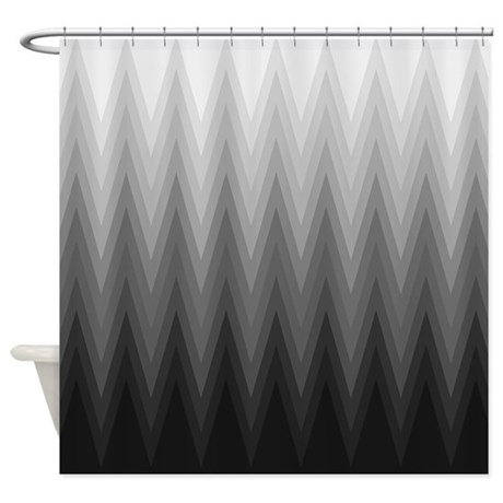 Ombre Black To Grey Chevron Pattern Shower Curtain By VInk