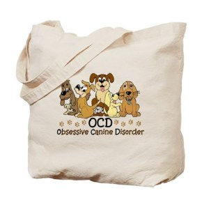 OCD Obsessive Canine Disorder Tote Bag  7 colorful dogs in different colors. Funny dog spoof / parody to obsessive compulsive disorder. For dog lovers and and dog fostering / dog sitting / dog walkers. Do they call you the crazy dog lady /