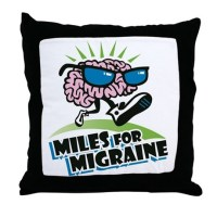 MILES FOR MIGRAINE Throw Pillow by listing-store-128945602