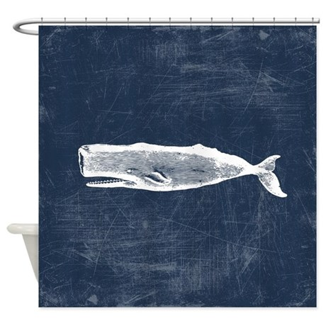Vintage whale white shower curtain by trendyteeshirts
