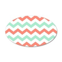 Mint and Coral Chevron Pattern Wall Decal by printcreekstudio