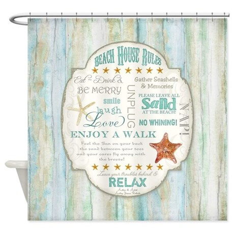 Beach House Rules Ocean Driftwood B Shower Curtain By