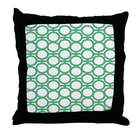 Seafoam Green Bubble Eyelets Throw Pillow by polkadotpattern