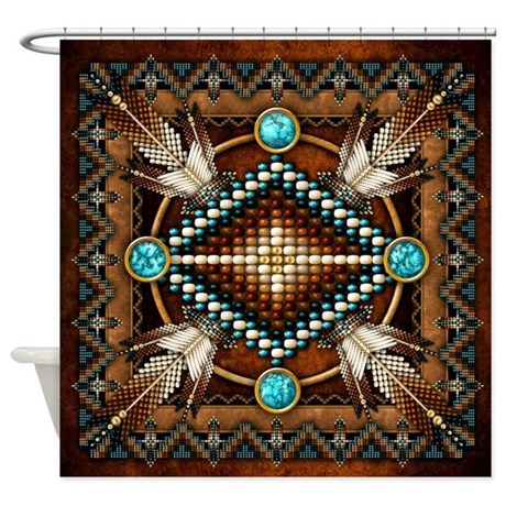Native American Style Tapestry 1 Shower Curtain by naumaddicarts
