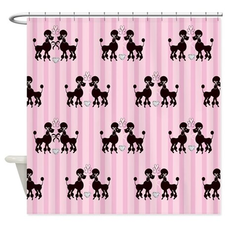 Pink Poodle Shower Curtains Pink Poodle Fabric Shower Curtain Liner
