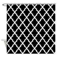 Black: Quatrefoil Moroccan Pattern Shower Curtain by