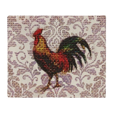 french country vintage rooster Throw Blanket by listing