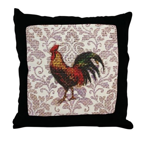 french country vintage rooster Throw Pillow by listing