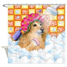 Labrador Dog Painting Bath with Shower Curtains by Art by Lucie