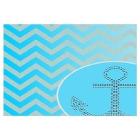 anchor ombre turquoise chevron Wall Decal