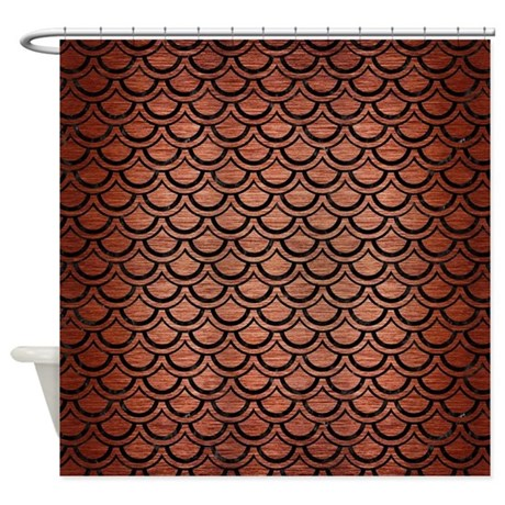 SCALES2 BLACK MARBLE  COPPER BRUSH Shower Curtain by