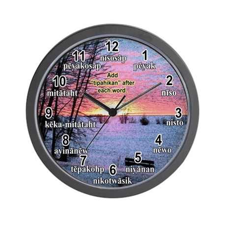 Plains-clock-in-cree_winter_sunrise_02. Wall Clock