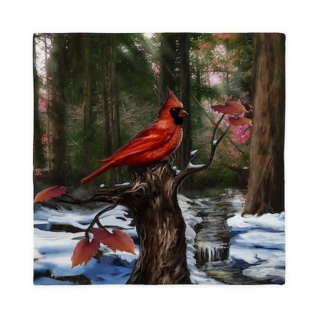 cardinal bird art Queen Duvet by Admin_CP204606