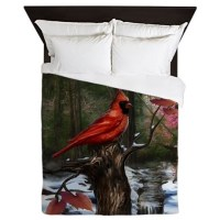 cardinal bird art Queen Duvet by Admin_CP204606