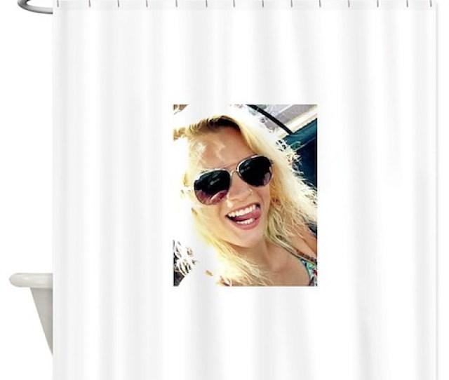 American Blonde Woman Smart Us Girl Shower Curtain
