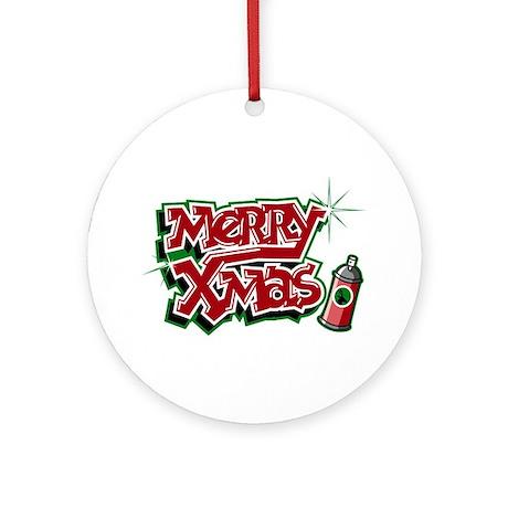 Merry Christmas Graffiti Ornament Round By Funtshirts