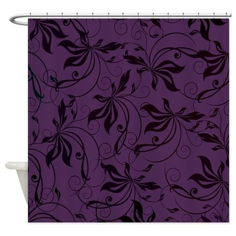 Deep Purple Black Swirl Shower Curtain by Admin_CP133666635