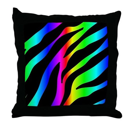 Rainbow Zebra Print Pillows Rainbow Zebra Print Throw