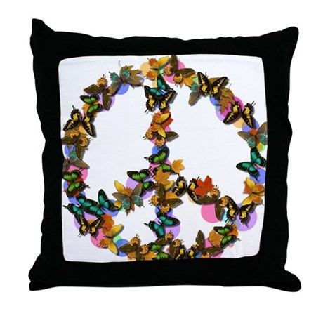 Butterflies Peace Sign Throw Pillow by PeaceButterfly