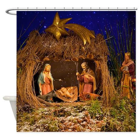 Nativity scene Shower Curtain by LinceAzulPhoto