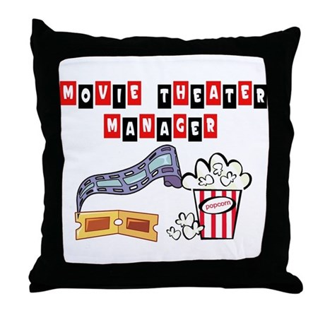 Movie Theater Mgr Throw Pillow by myjobtshirt