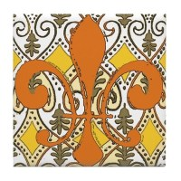 Fleur De Lis Ceramic Tiles Tile Coaster by figstreetstudio