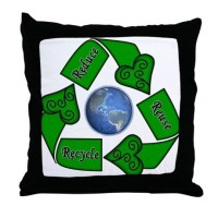 Reduce Reuse Recycle - Earth Throw Pillow by lovelycreations