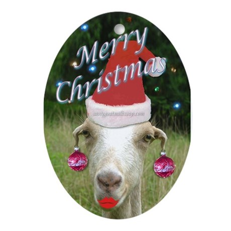 Ruby the Sassy Christmas Goat Ornament Oval by ChristmasGoat