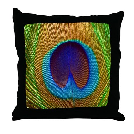 Peacock Feather Pretty Pillows Throw Pillow by thedezineshop