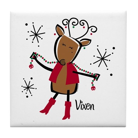 Vixen Reindeer Tile Coaster By Pinkinkart