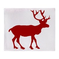 Red And White Reindeer Motif Throw Blanket by trendyteeshirts