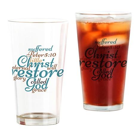 CHRIST WILL RESTORE DRINKING GLASS